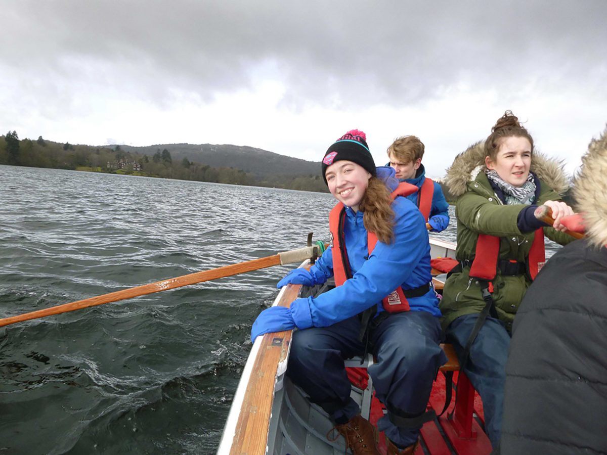 residential DofE Young people on whaler Windermere as part of DofE