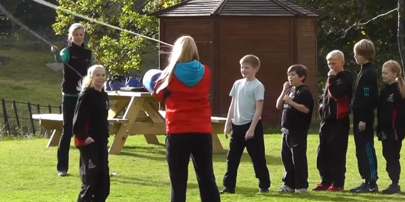 school residential pupils skipping activity